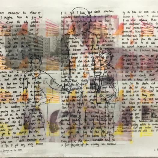 Stranger on the Shore, 2018: acrylic phototransfer, pen on paper; 80cm x 60cm