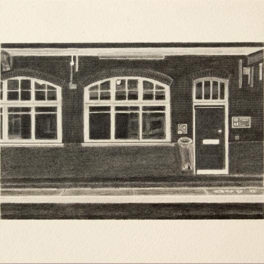 'station platform, Carshalton' 2019, graphite; 20cm x 15cm