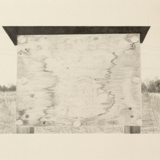 'noticeboard, Mucking Creek' 2019; graphite; 20cm x 15cm