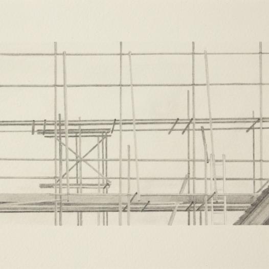 'scaffolding, Elstree', 2020: graphite; 20cm x 15cm