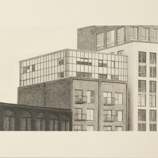 'offices, Elstree', 2020: graphite; 20cm x 15cm
