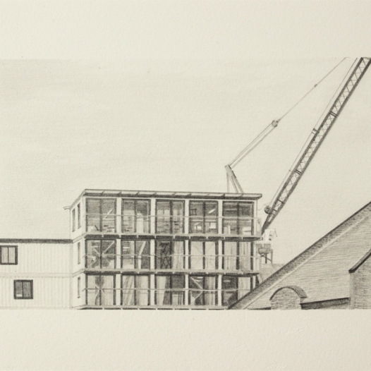 'balconies and crane, Trinity Buoy Wharf', 2020: graphite; 20cm x 15cm