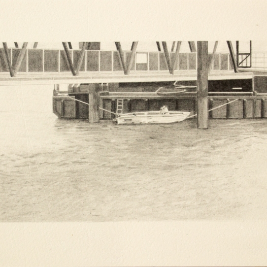 'pier and boat, Woolwich', 2020: graphite; 20cm x 15cm