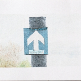 'footpath sign, Mucking Creek' 2020: coloured pencil; 20cm x 15cm