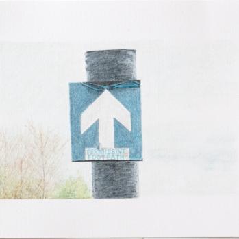 'footpath sign, Mucking Creek' 2020: coloured pencil; 20cm x 15cm