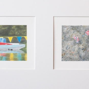 'pedalo, High Wycombe and gravel path, Eltham' 2020: coloured pencil; each drawing 20cm x 15cm; framed diptych 58cm x 28cm