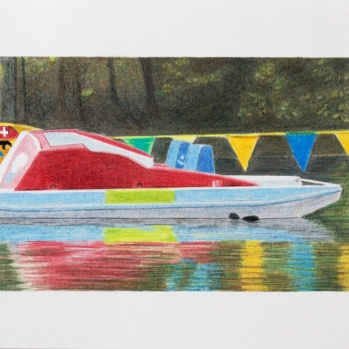'red pedalo, High Wycombe' 2020: coloured pencil; 20cm x 15cm