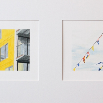 'yellow flats and flags, Trinity Buoy Wharf' 2020: coloured pencil; each drawing 20cm x 15cm; framed diptych 58cm x 28cm