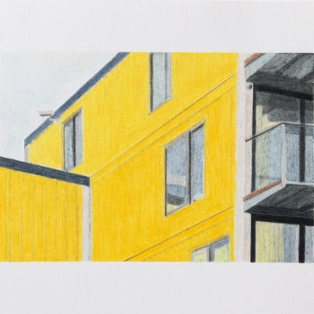 'yellow flats, Trinity Buoy Wharf' 2020: coloured pencil; 20cm x 15cm