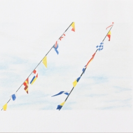 'flags, Trinity Buoy Wharf' 2020: coloured pencil; 20cm x 15cm