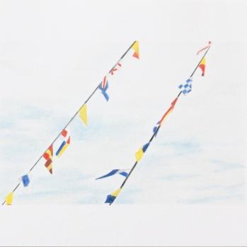 'flags, Trinity Buoy Wharf' 2020: coloured pencil; 20cm x 15cm