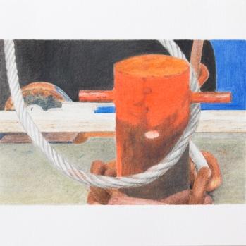 'orange capstan, Trinity Buoy Wharf' 2020': coloured pencil; 20cm x 15cm